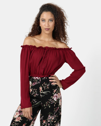 Legit Off The Shoulder Long Sleeve Button Front Crop Top Red