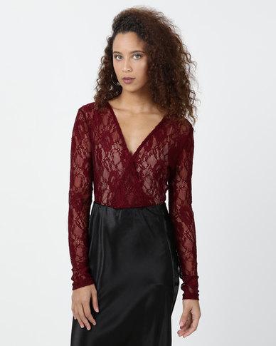 Legit Long Sleeve  Lace Cross Over Bodysuit Burgundy