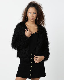 Legit Shiny Fur Jacket Black