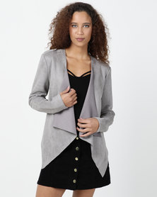 Legit Suede Waterfall Unlined Jacket Grey