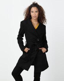 Legit Large Button Detail Lined Melton Jacket Black