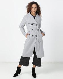 Legit Large Double Breasted Melton Coat Grey