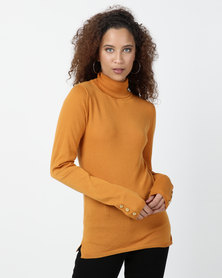 Legit Polo Neck with Mock Button Sleeve Detail Top Yellow
