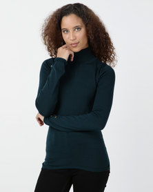 Legit Polo Neck With Mock Button Sleeve Detail Top Teal