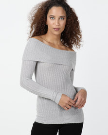 Legit Long Sleeve Fold Over Bardot Top Grey