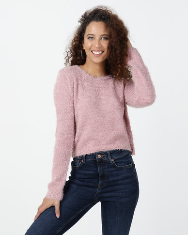 Legit Long Sleeve Fluffy Crop Top Blush