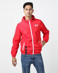 K Star 7 K7 Sport Barnes Nylon Zip Through Jacket Red