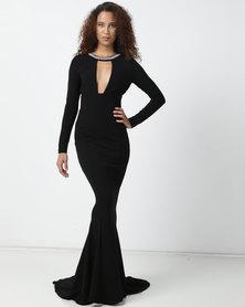 Sissy Boy Diamante Detail Maxi Dress Black