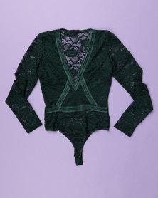 Sissy Boy Lace Detail Sport Bodysuit Green
