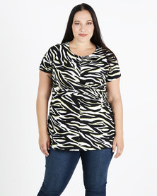 New Look Curves Zebra Print Soft Touch Twist Top Multi