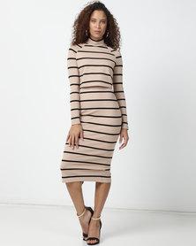 Sissy Boy Poloneck Stripe Dress Nude & Black