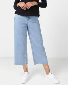 New Look Raw Hem High Waist Wide Leg Jeans Blue