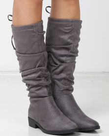 New Look Suedette Slouchy Knee High Boots Mid Grey
