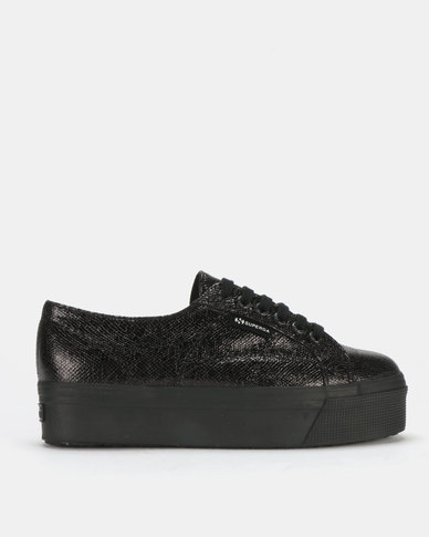Superga Metallic Snake Print Flatform Black
