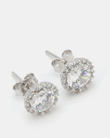 Miss Maxi Sterling Silver Round Stud Earrings Silver