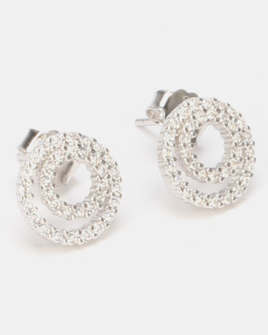 5b4023dba Miss Maxi Sterling Silver Double Circle Stud Earrings Silver | Zando