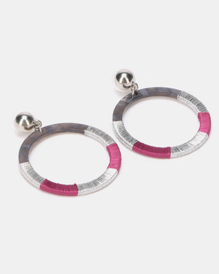 New Look Wanted Thread Wrapped Hoop Earrings Silver