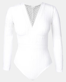 Easy Curves Lace V-neck Long Sleeve Bodysuit White