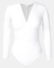 Easy Curves Lace V-neck Long Sleeve Bodysuit White