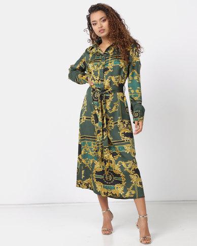 Utopia Chain Print Shirt Dress Emerald