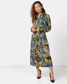 Utopia Chain Print Shirt Dress Sapphire