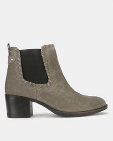 Step On Air Veta Leather Block Heel Ankle Boots Grey