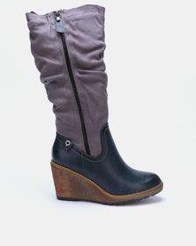 Bronx Women Violeta Wedge Heel Long Boots Navy