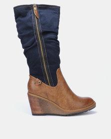 Bronx Women Violeta Wedge Heel Long Boots Tan