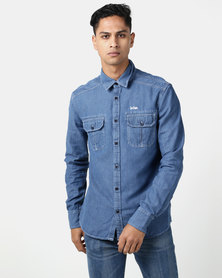 Lee Cooper M Boje Long Sleeve Denim Shirt With Embroidery Indigo