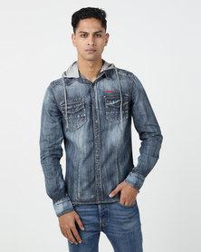 Lee Cooper M Glover Denim Shirt With Hood Indigo