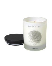 blomus Scented Candle with Hardwood Lid Citrus White Linen Flavo Small