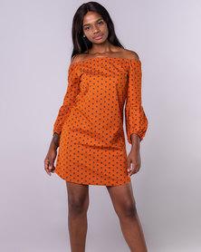 Blue Mango Off Shoulder Shweshwe Tunic - Dress Orange