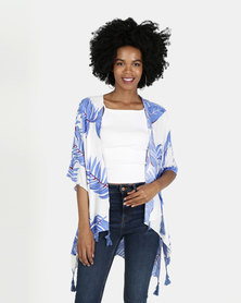 Blue Tropical print Kimono Top with Tassles
