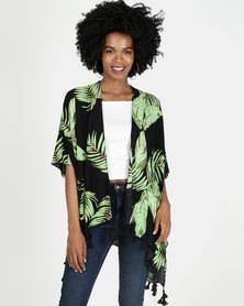 Black/green Tropical print Kimono Top with Tassles