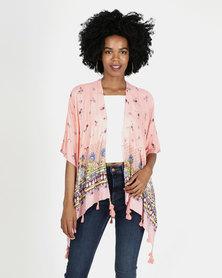 Coral Border print Kimono Top with Tassles