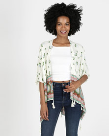 Neutral Border print Kimono Top with Tassles