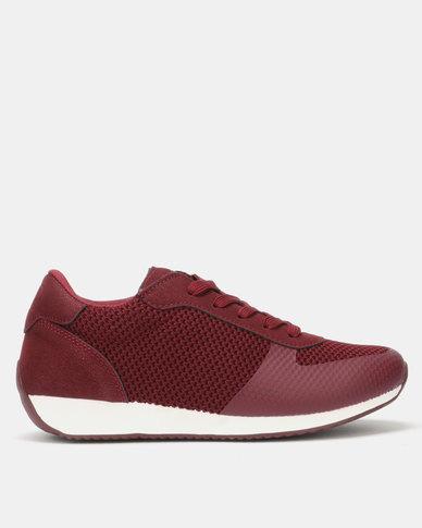 Pierre Cardin Textured Knit Sneaker Burgundy