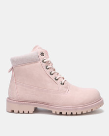 Pierre Cardin Lace Up Worker Boots Pink