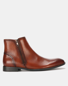 Steve Madden Epic Leather Boots Cognac