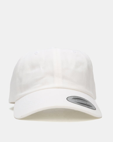 FLEXFIT Curved Peak Unstructured Dad Cap White