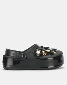 Crocs CB Platform Metallic Blooms Clog Black
