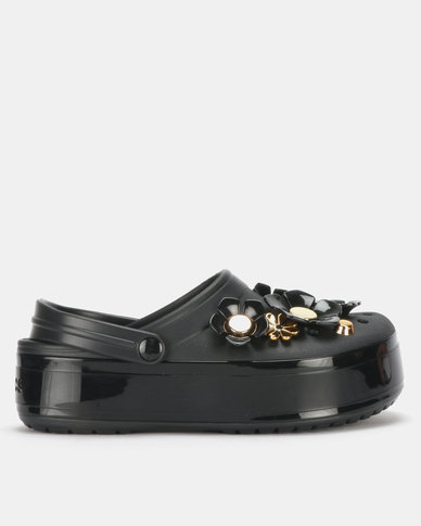 Crocs CB Platform Metallic Blooms Clog Black