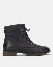 Queue Lace Up Ankle Boots Navy
