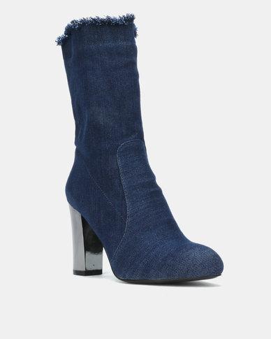 Queue Heeled Ankle Boots Denim