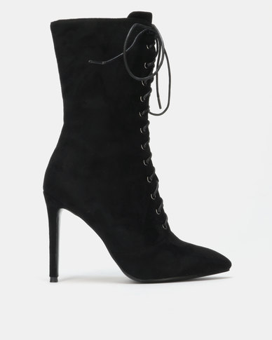 Queue Heeled Lace Up Stiletto Ankle Boots Black