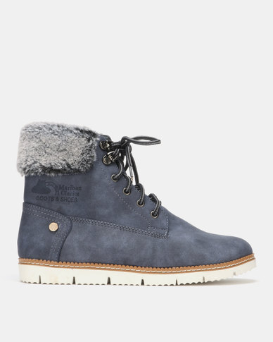 Queue Flat Ankle Boots with Faux Fur Navy