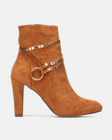 Sissy Boy Heeled Ankle Boot with Chain Detail Tan