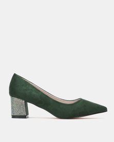 Sissy Boy Low Heeled Block Heel Dark Green