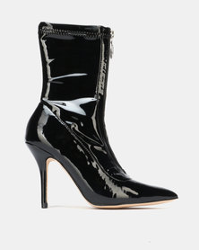Sissy Boy Perspex Heeled Ankle Boots Black