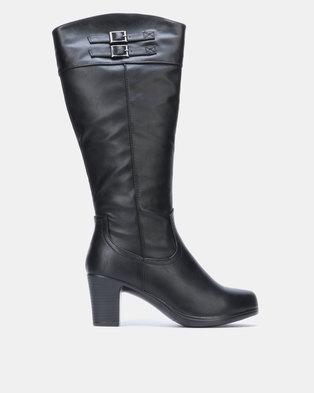 Franco Ceccato Mid Heeled Calf Boot Black